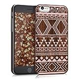 kwmobile Custodia in legno per Apple iPhone 6 / 6S Cover rigida - Protezione per cellulare Case Design Motivo Azteco legno di rosa