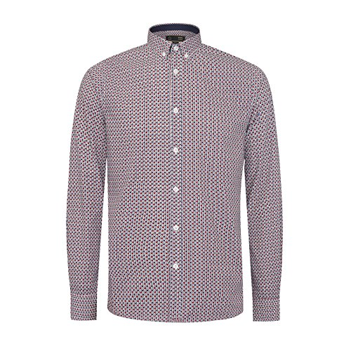 Merc of London Selsey Floral Print Shirt in Red and Blue