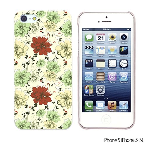 OBiDi - Flower Pattern Hardback Case / Housse pour Apple iPhone SE / Apple iPhone 5S / 5 - Colorful Flowers With Birds Pattern With Red And Green Flowers