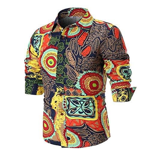 Preisvergleich Produktbild Binggong Herren Shirt, Sommer Förderung dünnen Abschnitt Bequeme Mode Business Casual, Persönlichkeit Männer Retro-Mode schlanke Vollfarbdruck V-Ausschnitt Knopf langärmeligen T-Shirt Top