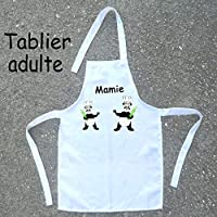 Texti-Cadeaux-Tablier cuisine adulte Panda à personnaliser Exemple: Mamie, Maman, Pauline