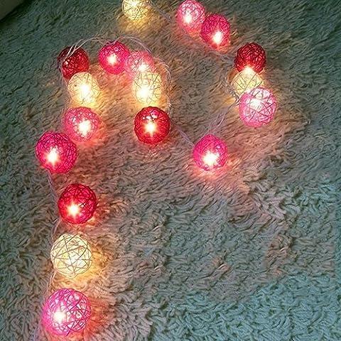 HANGQI(R) 20 LED Battery Operated Light Rattan balls Fairy String Lights Lanterns Christmas Party Bedroom (Warm