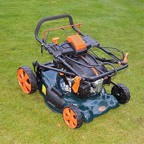 18″ BMC Lawn Racer Self Propelled Electric Push Button Start Lithium Ion Battery 4.5HP 4 Stroke Rotary Petrol Lawn Mower with 60L Grass Collection Bag, All Steel Deck, 4 in 1 Function Cut, Cut & Collect, Mulch, Side Discharge