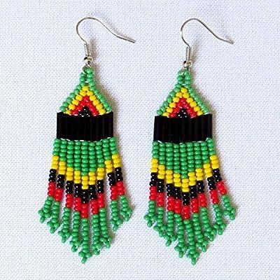 Boucles d'oreilles petit chandelier en perles Sud Africain Zoulou - Rasta