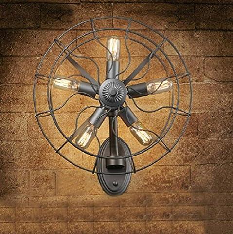 BD-Vintage Industrial Fan Lampe de mur LED Peinture Fer forgé Salle à manger Salon Mur Aucune source de lumière