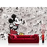 Vlies Fototapete 312x219cm PREMIUM PLUS Wand Foto Tapete Wand Bild Vliestapete - Disney Tapete Micky Maus Cartoon Comic Freunde Pluto Mickey Mouse Kindertapete grau - no. 1879