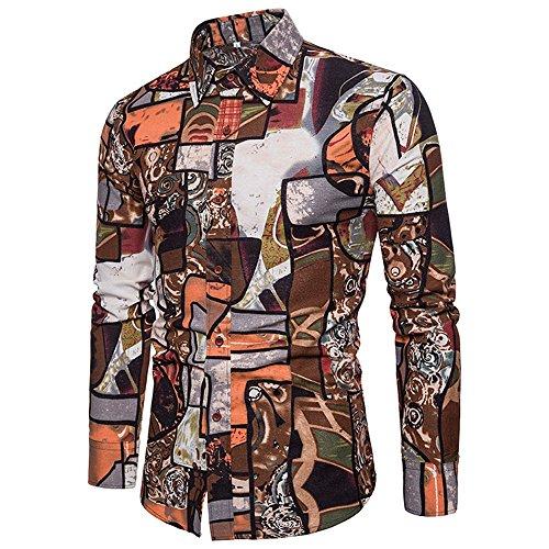 IMJONO Mens Shirt Mens Casual Long Sleeve Shirt Business Slim Fit Shirt Print Blouse Top + Pants(XXXX-Large,Khaki)