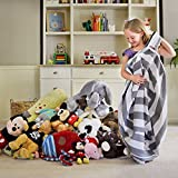 """EXTRA LARGE Stuff n Sit - Stuffed Animal Storage Bean Bag Cover by Smith's - Clean up the Room and Put Those Critters to Work for You! (40"""", Grey Striped)"""