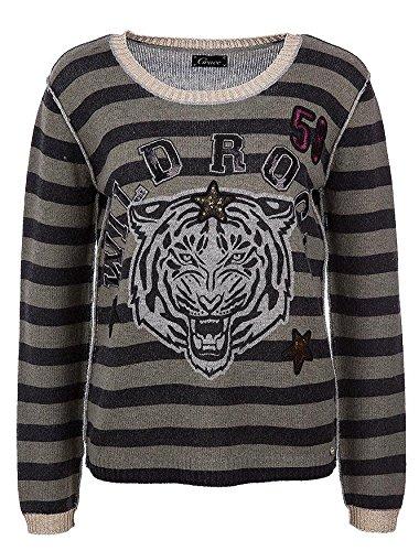 Tiger-print-rock (Grace Damen Strickpullover Tiger on Stripes mit Cashmere-Anteil und Wild Rock-Print aus Pailletten, Größe:S)