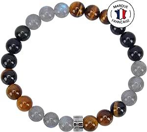 Bracelet Triple Protection Ultime en Pierres Naturelles certifiées de 8mm : Œil de Tigre d'Afrique du Sud/Obsidienne Noire du Mexique/Labradorite du Canada - Bracelet Extensible - Fait Main