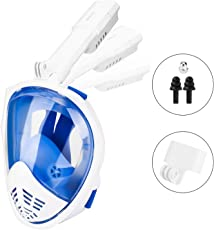 HOVNEE Tauchmaske Schnorchelmaske mit 180° Grad Sicht, Anti-Fog und Anti-Leck, frei Atmen- Design-Schnorchel Maske, unterstützt für Sport Kamera