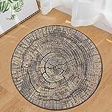 MDZZ Holzmaserung Runde Fußmatte Saugfähige Rutschfeste Dauerhafte Weiche Matten Teppich Indoor Outdoor Dekorative,F,24In