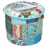 Stylo Culture Stoff Osmanischen Hocker Hocker Vintage Cover Türkis Indische Bestickte Patchwork Baumwolle Traditionelle Runde Osmanischen Hocker Abdeckung (18x18x13 Zoll) 45 cm