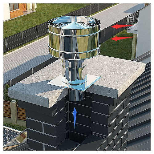Acier inoxydable cheminée statique capot de toiture échappement projet de mettre fin à 140mm