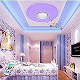 Hanamaki 24W LED-Deckenleuchten mit Bluetooth-Lautsprecher-Smartphone-App, Musik Lampe RGB-Farbtemperatur Verstellbar, Diammble Cool White Round Flush Mount Light-Halterung,50 * 5.8Cm