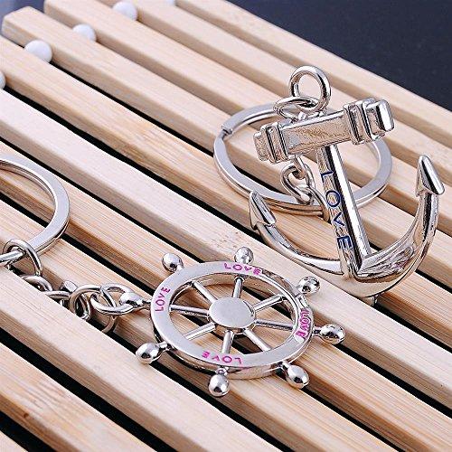 Hosaire Paar Keychain Taschenanhänger Schlüsselanhänger Kreative Mini Schiffs Anker/Ruder Metall Anhänger Paar Schlüsselbund Taschen Deko Anhänger KFZ Keys Rucksack Schlüsselringe - 3