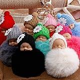 10 Piezas Pompon Llaveros de Juguete de Peluche de Muñeca Bebé Llaveros Originales Colgante Accesorios de Coche Moto Teléfono Bolsos para Mujeres, 10 Piezas