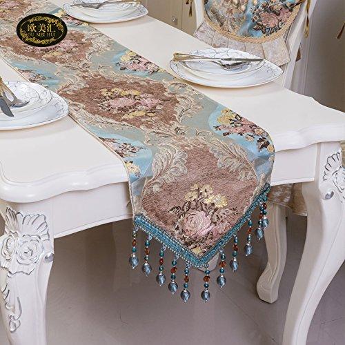 Cadeau de Noël Le téléviseur haut de gamme salon tissu tissu du cabinet sets de table chemin de table rectangulaire bleu *1,35,200cm