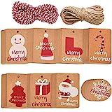 Xinlie Targhette Carta Kraft Etichetta Regalo Etichette per Regali Natalizi Christmas Kraft Paper Targhette per Appendere con 20 m di Stringa e 8 Disegni per Etichetta Regalo di Natale (160 PCS)