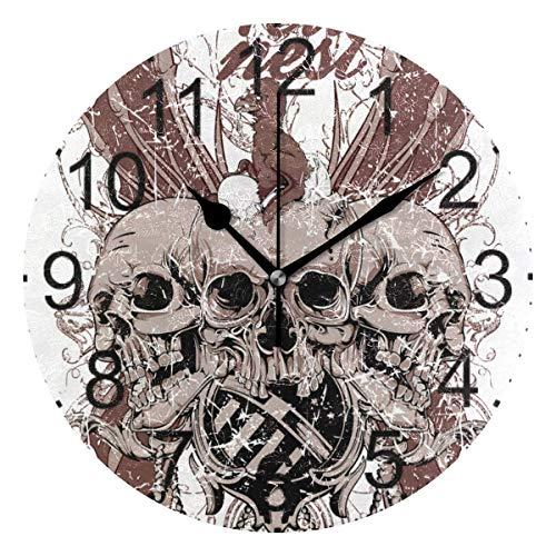 dfegyfr Art Punk Shull Head Runde Acryl Wanduhr Nicht Ticken Stille Uhren für Wohnkultur Wohnzimmer Küche Schlafzimmer Büro Schule