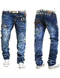 Kosmo Lupo K&M 322A Designer Jeans Homme Cargo Black Bleu Style Clubwear Pantalon W29-W38 / L32-L34