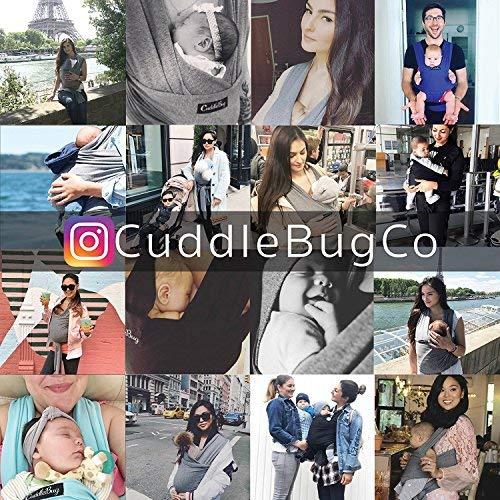 ❤️ Tragetuch Baby von Cuddlebug ❤️ mit Gratisversand – 5 Farboptionen – Baby Carrier Sling – Babytragetuch Neugeborene – Elastisches Tragetuch (Grau) - 7