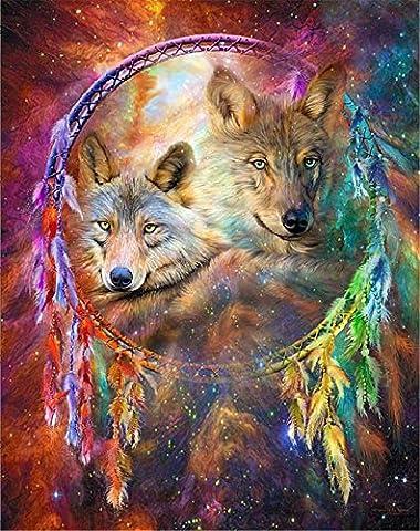 YEESAM Art nouveau 5d Diamant Peinture kit–chacal Loups Attrape-rêves–DIY Cristaux Diamant De Strass Peinture Collez-le Peinture par numéro Kits point de croix à broder