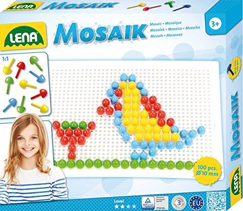 Lena 35603 - Mosaik Steckspiel Set mit 100 farbigen Mosaikstecker je 10 mm und Stiftplatte 21 x 16 cm, Steckmosaik für Kinder ab 3 Jahre, mit Steckvorlagen Tiere, Blumen und Fahrzeuge