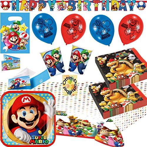 y-Set 60tlg. Teller Becher Servietten Tischdecke Tüten Einladung Banner Luftballons für 8 Kids ()