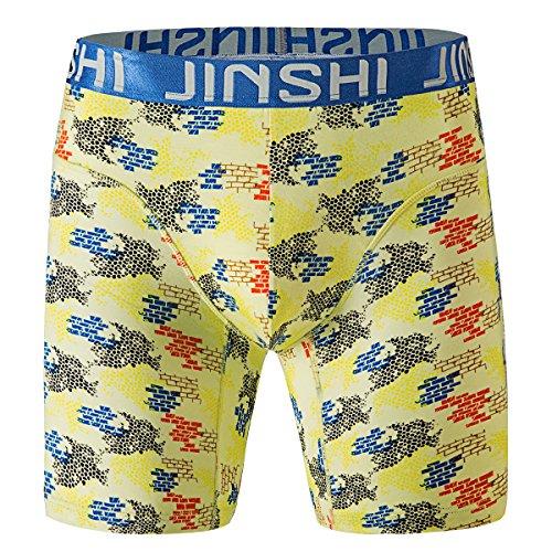 JINSHI Herren Boxershorts Lang Unterhose Bunt Retroshorts JS-415