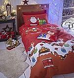 Catherine Lansfield - Set coordinato con copri-piumino e federe, per letto singolo, dimensioni 135 x 200 cm + 1 federa 50 x 75 cm, 55% percalle di cotone e 45% poliestere, motivo: i regali di Babbo Natale