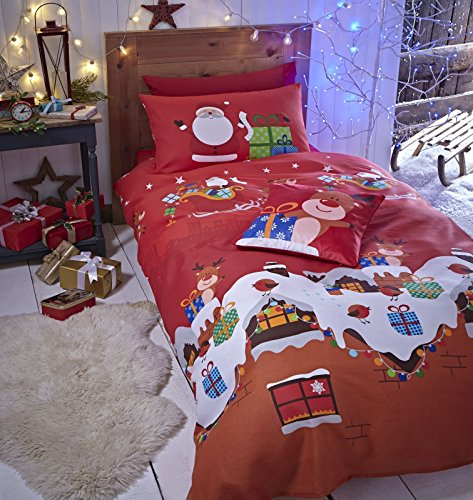 Catherine Lansfield Santa's Christmas Presents Easy Care Double Duvet Set Multi