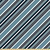 ABAKUHAUS Gestreift Stoff als Meterware, Graue und Blaue