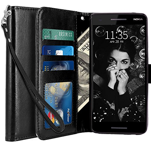 LK Cover per Nokia 2.1 Custodia, Case in Pelle PU di Lusso Portafoglio con Fessure di Carta Cover Protettiva - Nero