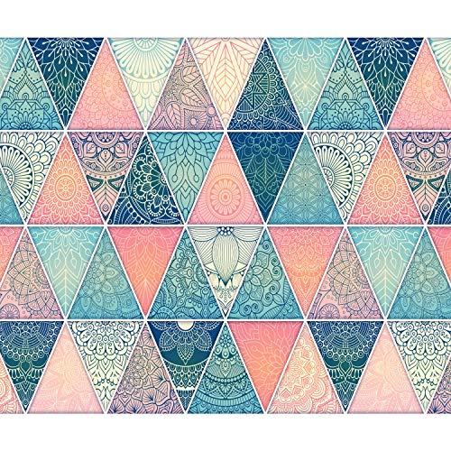 decomonkey | Fototapete Ornament Orient Bunt 350x256 cm XL | Tapete | Wandbild | Bild | Fototapeten | Tapeten | Wandtapete | Wanddeko | Geometrische Muster Mandala blau rosa