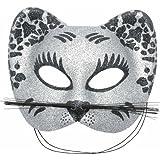 P'TIT CLOWN 60015 Loup Tissu Paillettes Chat avec Moustache - Argent/Noir