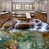 Syssyj Chinesischen Stil Wasserfall Karpfen 3D Bodenfliesen Tapete Aufkleber Badezimmer Küche Wohnzimmer Pvc Wasserdichte Wandbilder-350X250CM