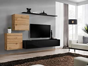All4all Wohnwand Mit LED Beleuchtung Hochglanz TV Board Anbauwand  Schrankwand Fernsehwand Wohnzimmerset Lowboard Kleine Wohnwand  Fernsehschrank