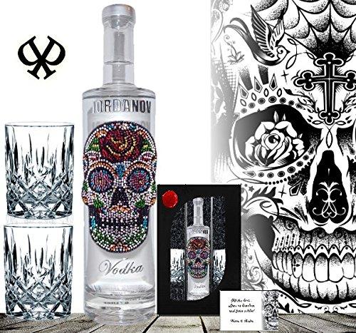100% Vodka |Geschenk-Set Flower Skull inkl. 2 Gläsern|Luxus-Wodka Iordanov im Geschenk-karton Chrome | Luxus für Männer und Frauen |Geschenkkarte