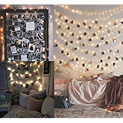 Guirlande lumineuse 10 M100 LED avec 50 clips photo LED, cadres photos, décoration murale - Décoration de chambre à coucher