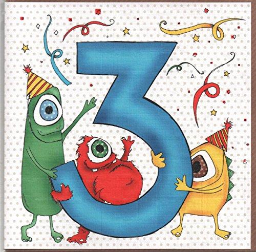 Studio Gerippt (Geburtstagskarte für drei (3) Jahr Alten Jungen oder Mädchen. Kostenloser 1st Class Post (UK))