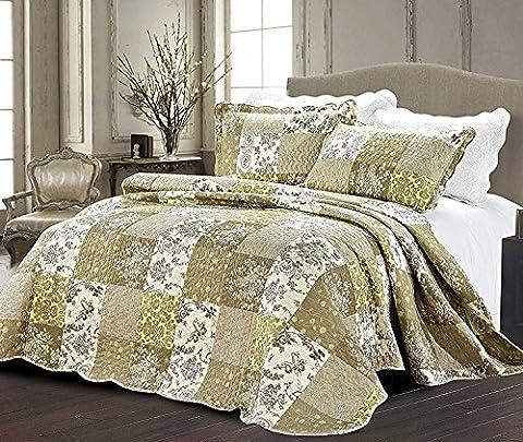 Luxury 3 Piece Patchwork Quilt Throw Bedspread Reversible Vintage Flower Embroidered Bedspread Bedding Set (King (230 x 250 CM), Floral (C86007))
