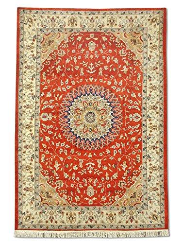 Hecho a mano tradicional persa Kashan alfombra, lana/Art. Seda (destacados), rojo, 125x 182cm, 4de 1