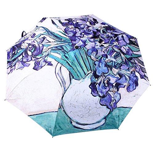 ToxTech Pieghevole Ombrello, pittura creativa Olio modo dell'ombrello argento rivestimento anti-UV Triplice viaggio ombrello (Esterno Miglior Olio)