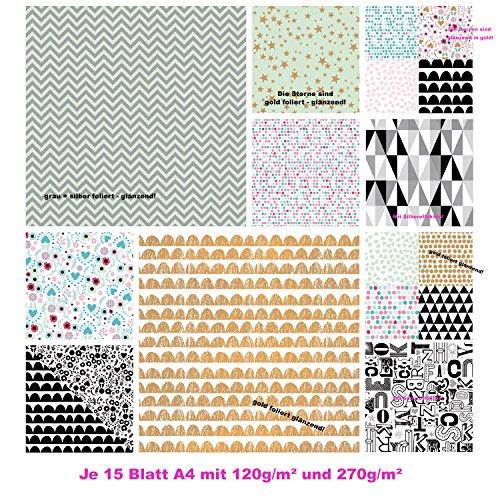 30 Blatt Papier edel Motivpapier Bastelpapier Dekorpapier Muster Scrapbooking-Block DIN A4 gold silber schwarz weiß glänzend verschiedene Farben DIN A4 Blatt - Papier zum Basteln