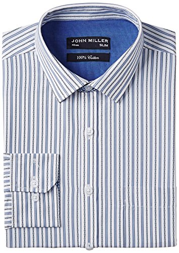 John Miller Men's Formal Shirt (8907130979119_1Os86072_40_Blue)