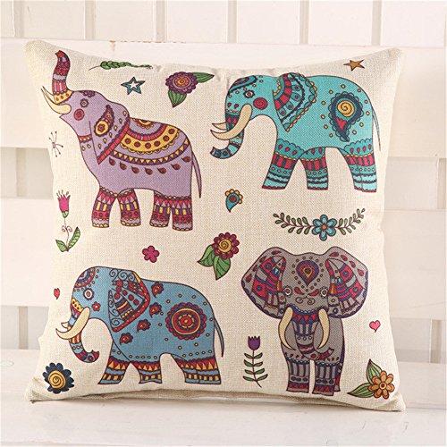 MF Funda de cojín de lino con estampado de elefantes 45 cm,...