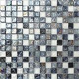 Glas Mosaik Fliesen Matte in Schwarz, Grau und Weiß Perle Schimmer gehammertes (MT0051)