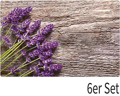 matches21 Tischsets Platzsets MOTIV Lavendel auf Holz Holzbrett braun 6er Set Kunststoff je 43,5x28,5 cm abwaschbar