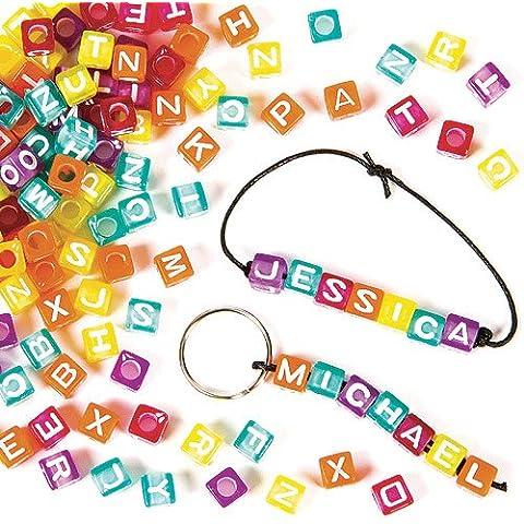 Cuentas de dados con letras para niños para pulseras y collares(pack de 450)